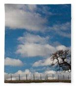 Tree And Fence On A Landscape, Santa Fleece Blanket