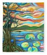 Tree And Lilies At Sunrise Fleece Blanket