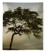 Tree And Stormy Sky Fleece Blanket