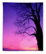 Tree At Sunrise Fleece Blanket