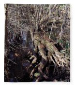 Tree Roots At The River Fleece Blanket