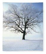 Tree Covered In Hoar Frost Fleece Blanket