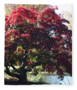 Tree Hanging Into Lake Fleece Blanket