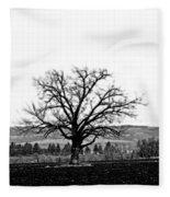 Tree In Black And White Fleece Blanket