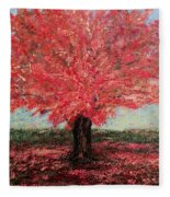 Tree In Fall Fleece Blanket