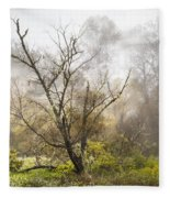 Tree In The Fog Fleece Blanket