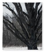 Tree In Winter Fleece Blanket
