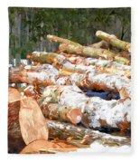 Tree Logs  Fleece Blanket
