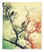 Tree Of Crows II Lights Fleece Blanket