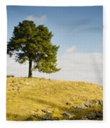 Tree On A Hill Fleece Blanket