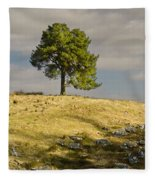Tree On A Hill Vertical Fleece Blanket