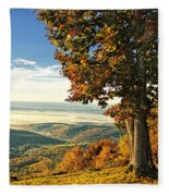Tree Overlook Vista Landscape Fleece Blanket