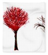 Tree Paintings In Wax Fleece Blanket