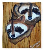 Tree Raccoons Fleece Blanket