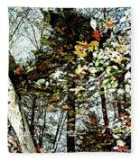 Tree Reflected In Leaves Fleece Blanket