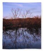 tree reflection on Wv pond Fleece Blanket