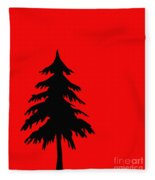 Tree Silhouette On A Red Background 2 Fleece Blanket