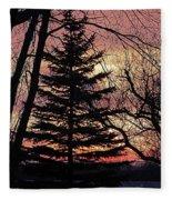 Tree Sunset Fleece Blanket