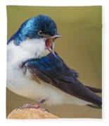 Tree Swallow Squawking Fleece Blanket