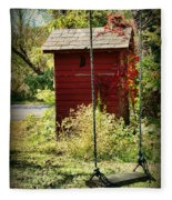 Tree Swing By The Outhouse Fleece Blanket