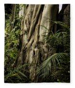 Tree Trunk And Ferns Fleece Blanket