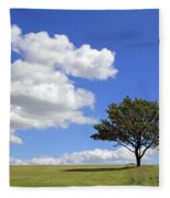 Tree With Clouds Fleece Blanket