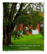 Tree With Scripture Fleece Blanket