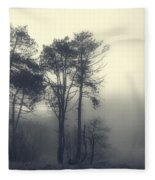 Trees And Fog At Castle Hill Fleece Blanket