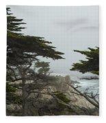 Trees And Mist Fleece Blanket