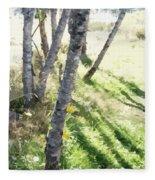 Trees At A Picnic Fleece Blanket