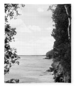 Trees At The Lakeside, Cave Point Fleece Blanket