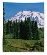 Trees In A Forest, Mt Rainier National Fleece Blanket