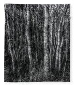 Trees In Black And White Fleece Blanket