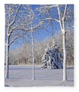 Trees In Snow  Wisconsin Fleece Blanket