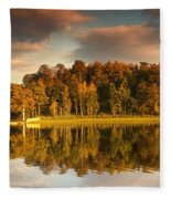 Trees Lining The Waters Edge Reflected Fleece Blanket