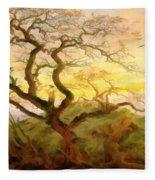 Trees Of Crows Fleece Blanket