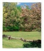 Trees On A Field, Davidson River Fleece Blanket