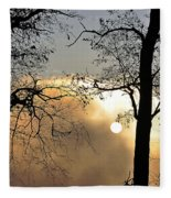 Trees On Misty Morning Fleece Blanket
