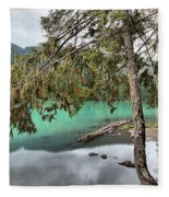 Trees Overhanging Cheakamus Lake Fleece Blanket