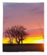 Trees Watching The Sunrise Panorama View Fleece Blanket