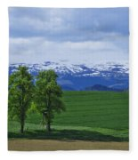 Trees With Mountains Fleece Blanket