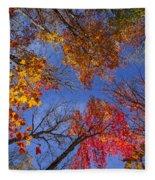 Treetops In Fall Forest Fleece Blanket