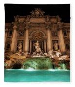 Trevi Fountain Illuminated At Nighttime Fleece Blanket