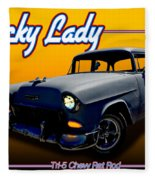 Tri-5 Chevy Rat Rod Lucky Lady Fleece Blanket