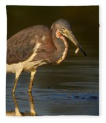 Tricolor Heron With Small Fish Fleece Blanket