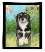 Tri Colored Dachsund Mix Dog Canine Pets Animal Art Fleece Blanket