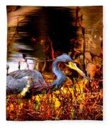 Tri Colored Heron - Reflection Fleece Blanket