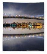 Triboro Bridge Panorama At Night Fleece Blanket