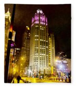 Tribune Tower On A Rainy Night Fleece Blanket