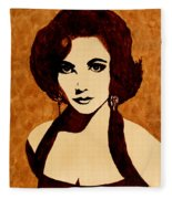 Tribute To Elizabeth Taylor Coffee Painting Fleece Blanket